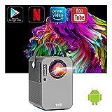 Artlii Play Proyector Android TV 9.0, Proyector Smart Portátil WiFi Bluetooth , Soporte AC-3, Corrección Keystone 4D de ± 45 ° y Zoom